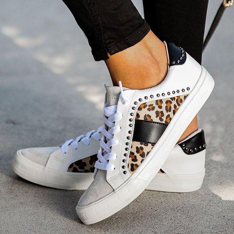 Leopard All Season Rivet Flat Heel Sneakers