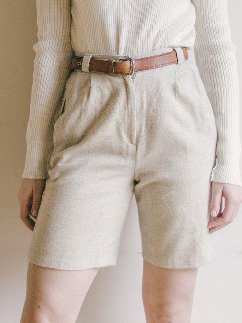 Beige Pure High Waist Casual Shorts