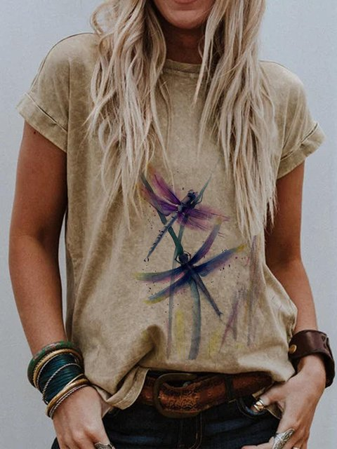 Graphic Short Sleeve Casual Crew Neck  Tops