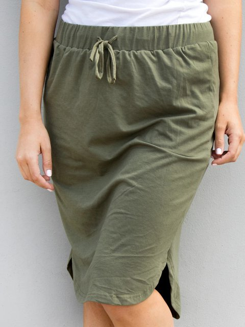 Army Green Cotton-Blend Casual Plain Skirts