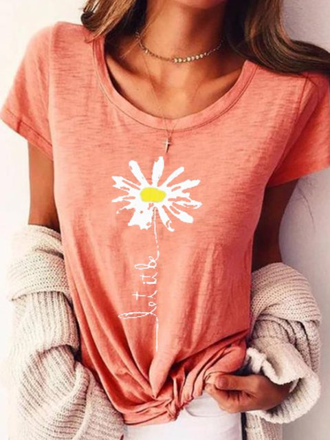 Pink Printed Short Sleeve Round Neck T-Shirts