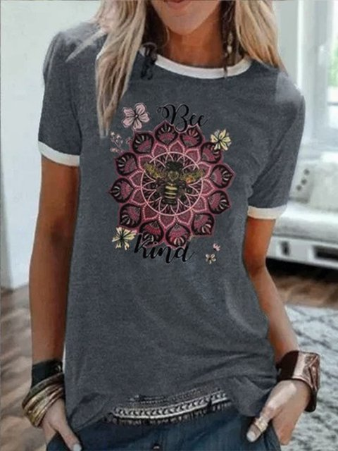 Plus Size Casual Short Sleeve Crew Neck Shirts & Tops