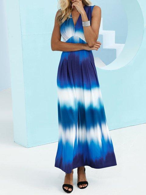 Blue Cotton-Blend V Neck Shift Casual Dresses