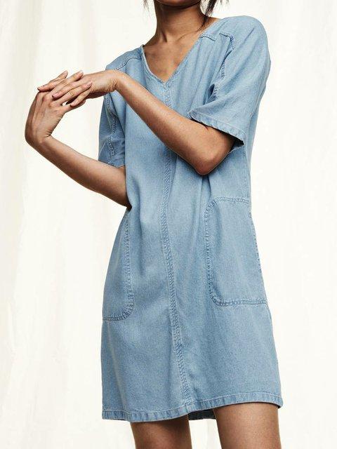 Blue V Neck Casual Denim Shift Dresses
