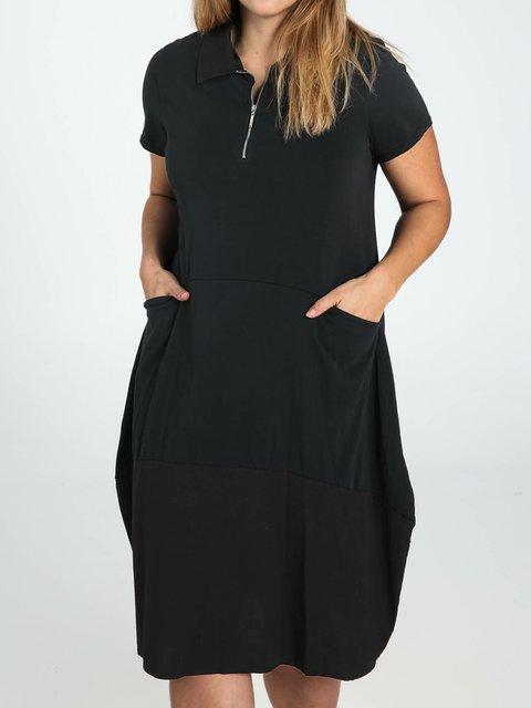 Cocoon Shirt Collar Short Sleeve Dresses