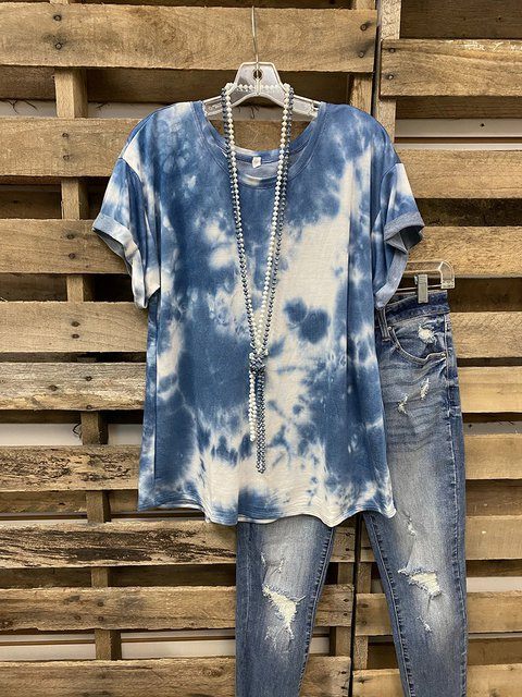 Blue Ombre/tie-Dye Cotton Casual Shirts & Tops
