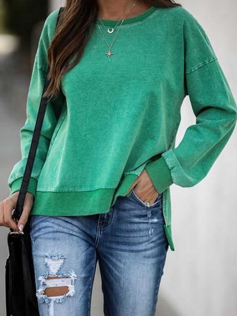 Green Casual Solid Sweatshirt