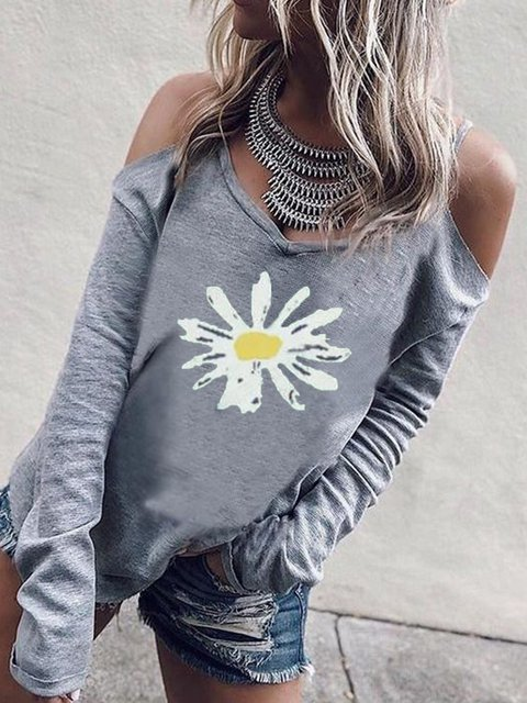 Printed Round Neck Long Sleeve Shirts & Tops