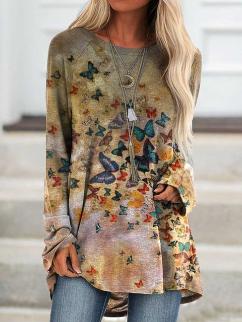 Deep Khaki Casual Long Sleeve Printed Shirts & Tops