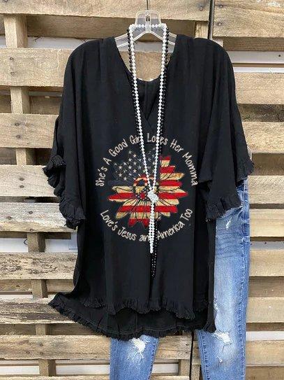 Short Sleeve V Neck Letter Cotton-Blend Shirts & Tops