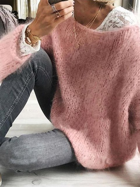 Casual Long Sleeve Knitted Solid Sweater