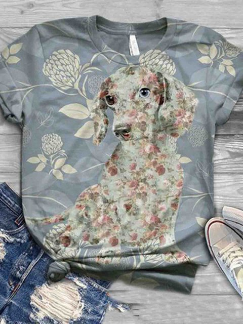 Crew Neck Cotton Casual Animal Shirts & Tops