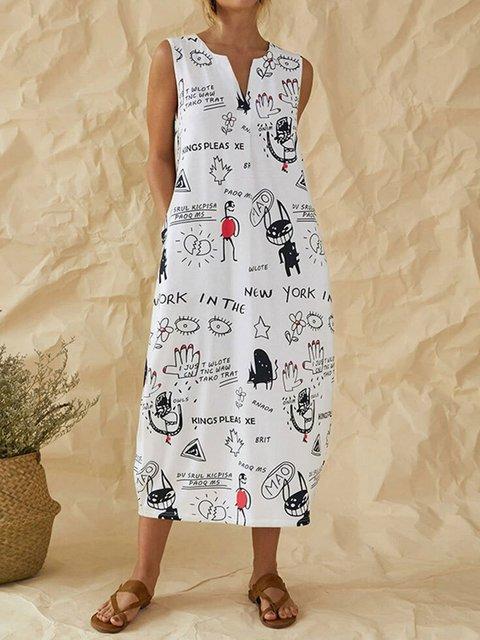 White Casual Cotton-Blend Graffiti V Neck Dresses