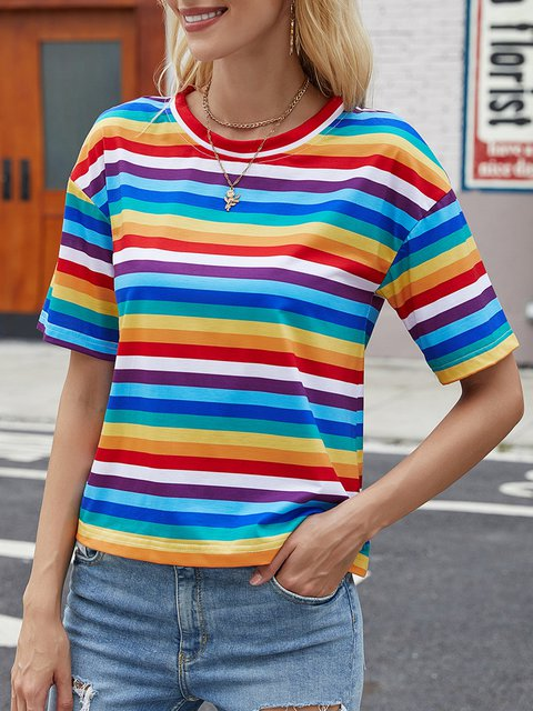 Multicolor Casual Short Sleeve Cotton-Blend Shirts & Tops