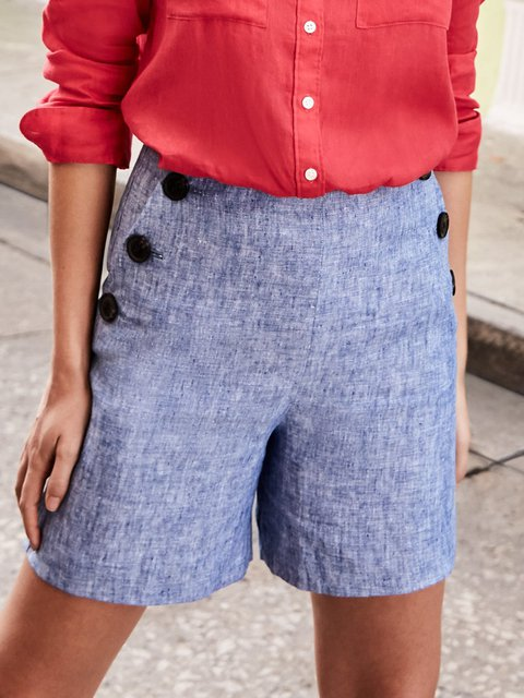 Buttoned Solid Shorts Women Plus Size Pockets Pants