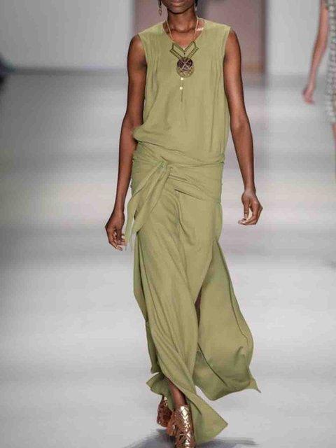 Lightgreen Sleeveless Cotton Crew Neck Dresses
