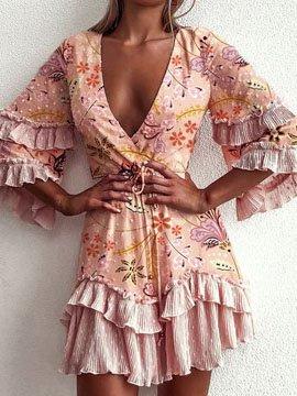 V Neck Floral Casual Dresses