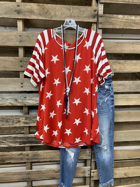 Stars Stripe Independence Day Memorial T-shirt