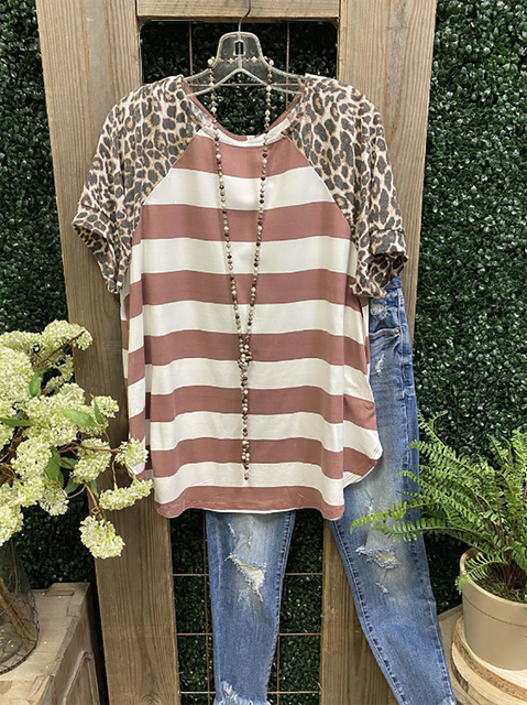 Red Leopard Casual Crew Neck Cotton-Blend Shirts & Tops