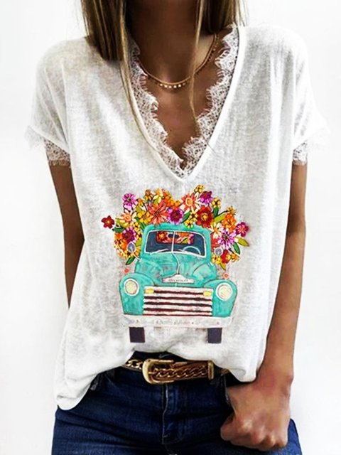White Daily Casual Shift Cartoon V Neck Cotton Lace Short Sleeve Shirts & Tops