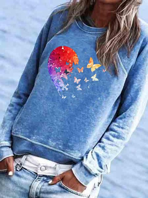Cotton-Blend Long Sleeve Printed Crew Neck Shirts & Tops