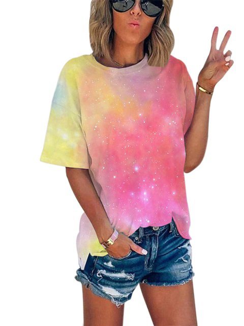 Short Sleeve Casual Silk Ombre/tie-Dye Shirts & Tops