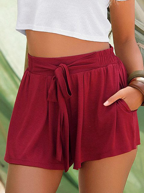 Solid Pockets Shorts Women Plus Size Pants
