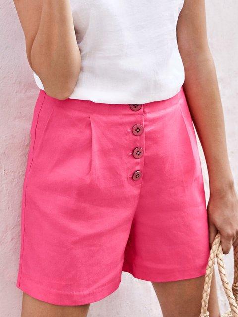 Women Solid Shorts Plus Size Buttoned Pockets Pants