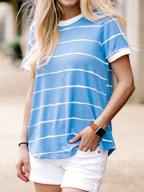 Striped Casual Short Sleeve Tees Tops