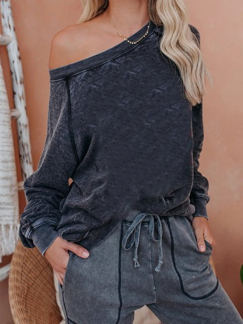 Gray Cotton-Blend Round Neck Long Sleeve Shirts & Tops