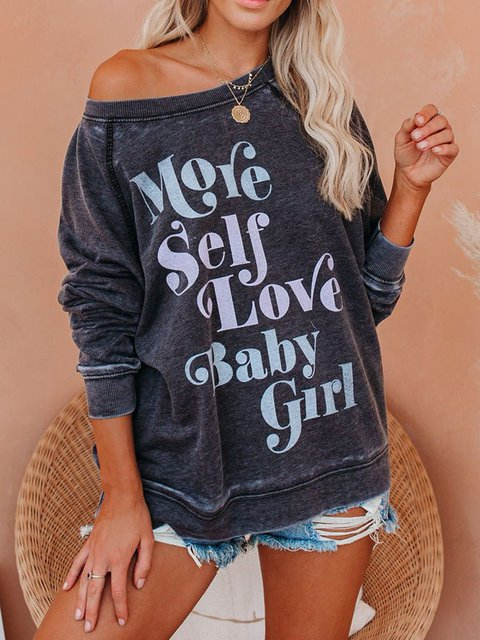Gray Blue Casual Cotton-Blend Round Neck Printed Shirts & Tops