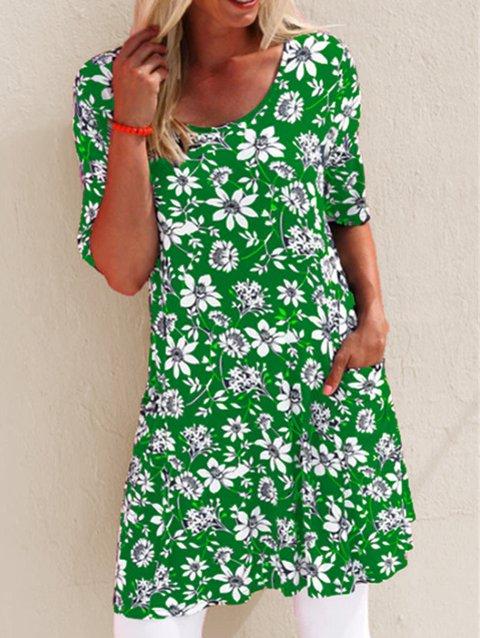 Floral-Print Short Sleeve Vintage Dresses
