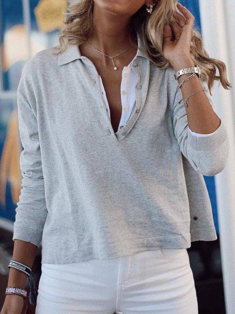 Shirt Collar Plain Long Sleeve Paneled Shirts & Tops