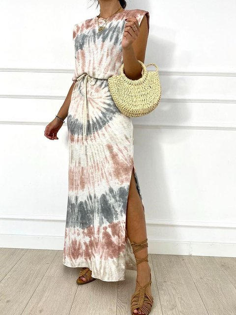 Summer Sleeveless Maxi Dress Plus Size Ombre/tie-Dye Dresses