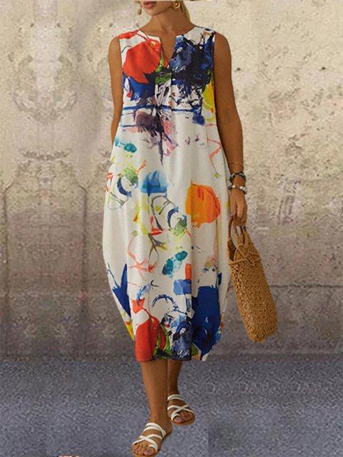 Multi Colored Graffiti Digital Print Sleeveless Midi Dress