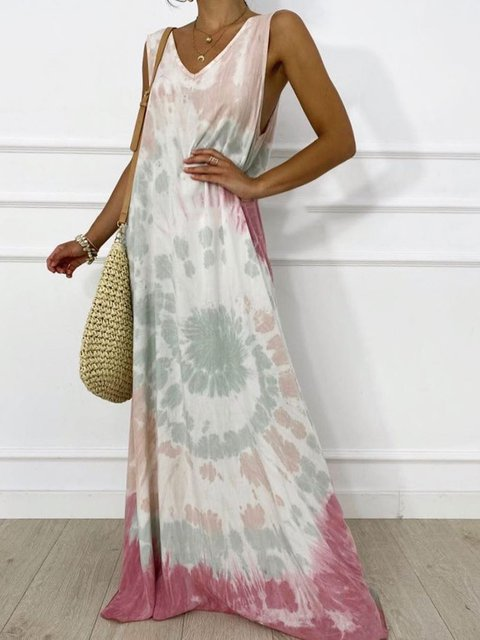 Sleeveless Maxi Dress Summer Plus Size Ombre/tie-Dye Dresses