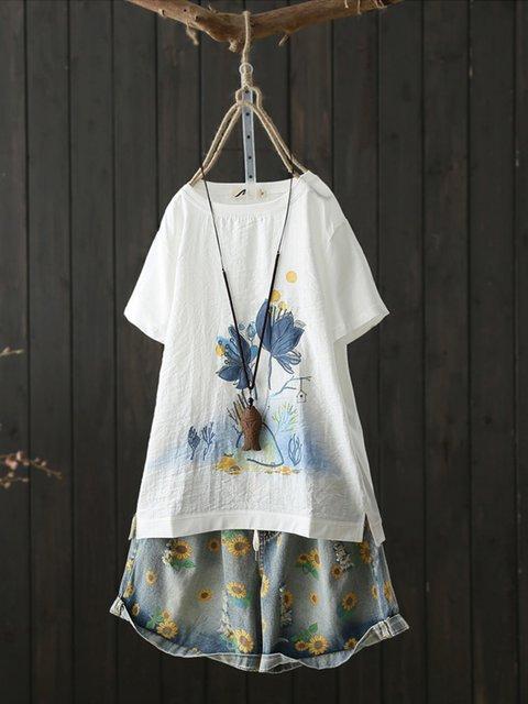 White Crew Neck Vintage Cotton Floral Shirts & Tops