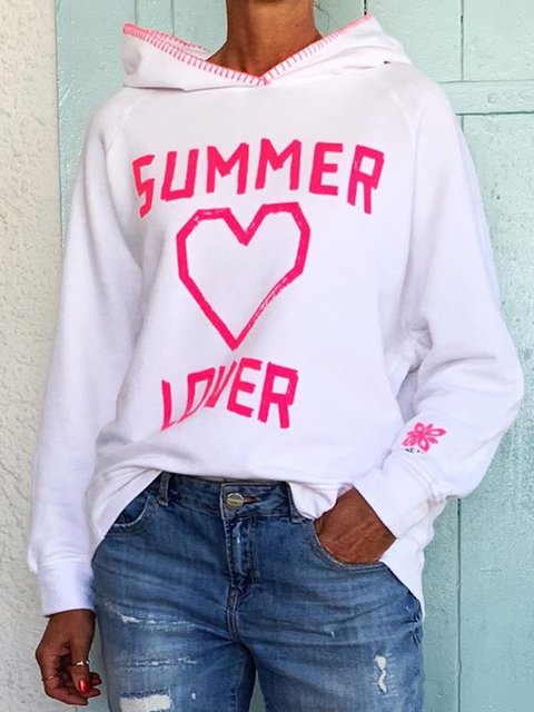White Cotton Hoodie Long Sleeve Letter Sweatshirt
