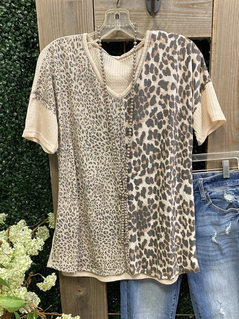 Leopard Print Crew Neck Short Sleeve Cotton-Blend Shirt & Top
