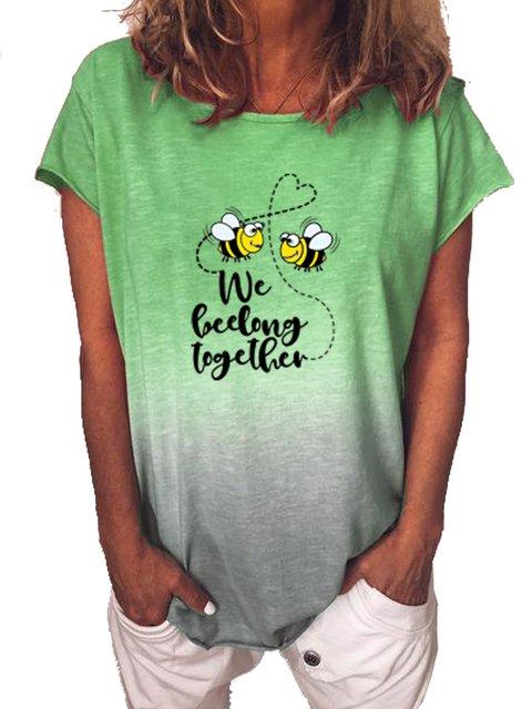 Short Sleeve Color-Block Printed Casual Shirts & Tops