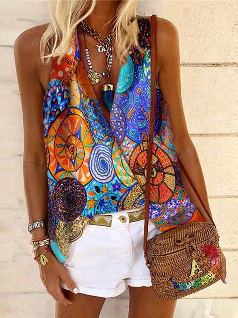 Flower Sleeveless Printed Shirts & Tops
