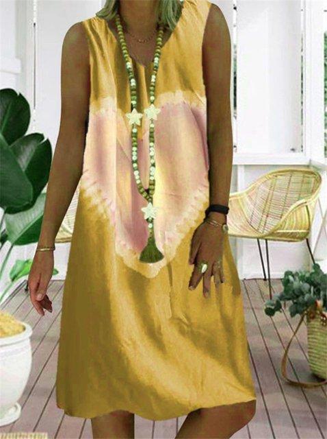 V Neck Tie-Dye Vintage Dresses