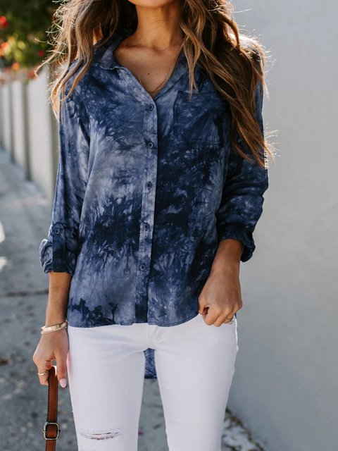 Navy Blue Casual Cotton-Blend Shirts & Tops