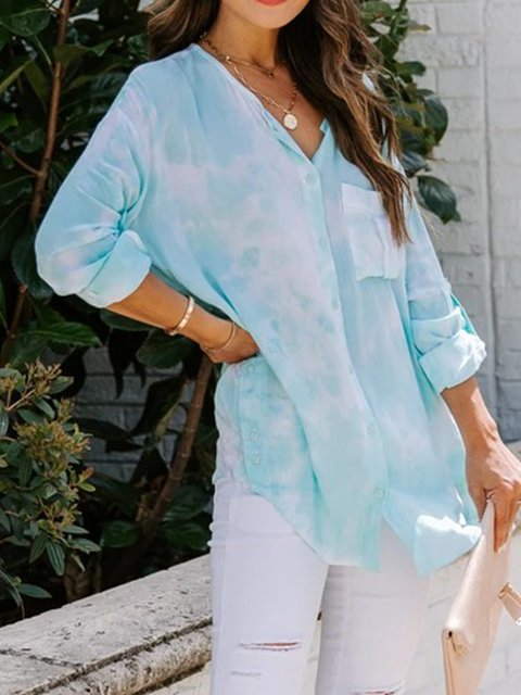 Blue Long Sleeve Ombre/tie-Dye Cotton-Blend Shirts & Tops