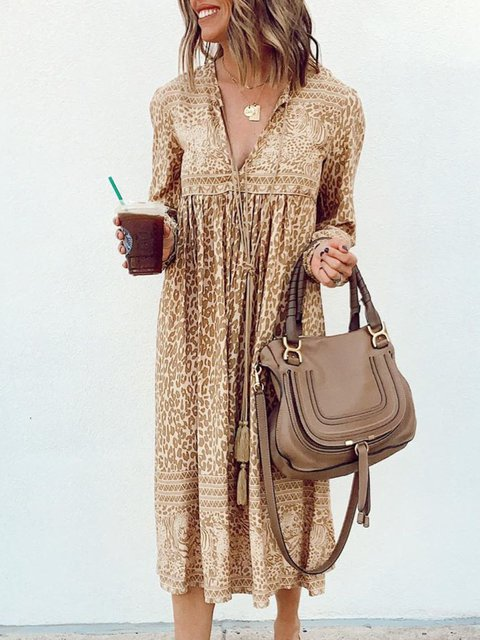 Khaki Long Sleeve Printed V Neck Dresses