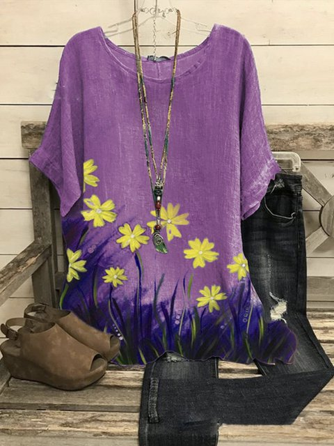 Violet Cotton-Blend Short Sleeve Floral Shirts & Tops
