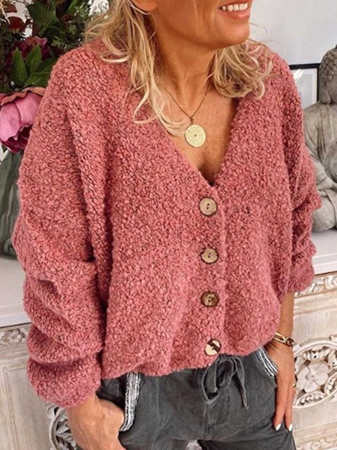 Red Casual Long Sleeve Patchwork Sweater