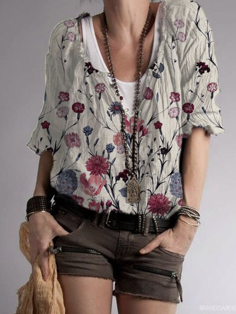 Gray Floral Casual Cotton-Blend Shirts & Tops