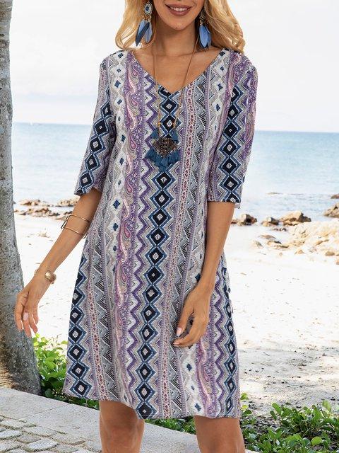 Purple V Neck Half Sleeve Shift Tribal Dresses