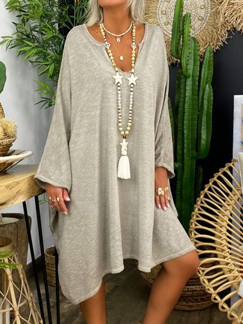 Gray Long Sleeve V Neck Jersey Shift Dresses